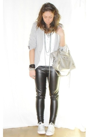 Zara blazer - H&amp;M shirt - Zara pants - converseall star shoes - balenciaga purse