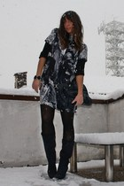 blue Zara dress - blue blu tall boots Mauro Leone boots - blue vintage bag