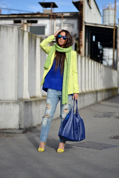 chartreuse H&M shoes - silver Zara jeans - blue H&M sweater