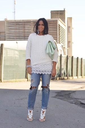 white Sheinside dress - sky blue H&M jeans - white Zara sweater