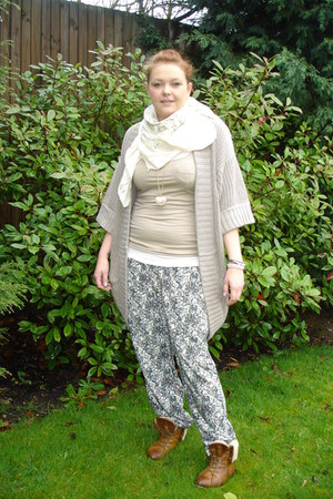 pixie fur TK Maxx boots - taupe H&M vest - pink H&M vest - chunky knit Target ca