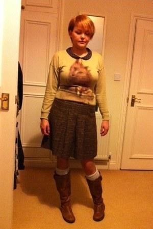 brown betts boots - wool knit H&M socks - Zara jumper - Hennes skirt