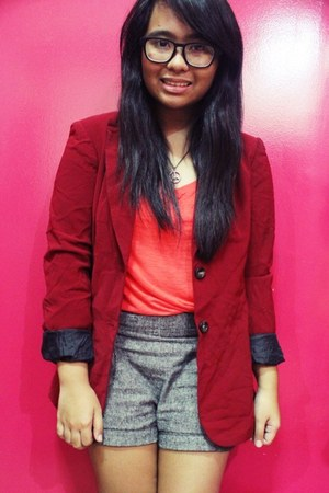ruby red thrifted blazer - charcoal gray Forever 21 shorts