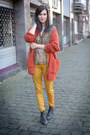 Carrot-orange-cardigan-gold-pants