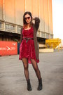 Magenta-dress-black-boots-light-brown-cardigan