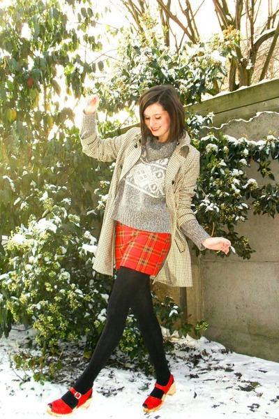 camel coat - heather gray sweater - red skirt - red shoes - black tights