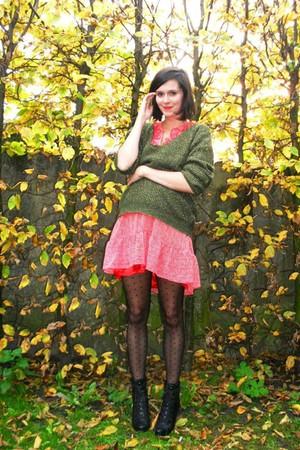 green sweater - red dress - black boots - black tights