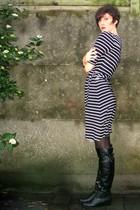 black dress - black tights - black boots