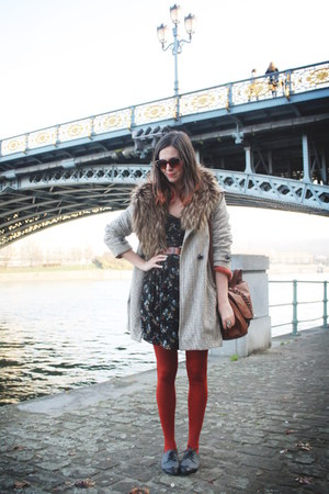 camel coat - gray shoes - black dress - carrot orange tights - tawny bag