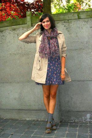 blue dress - beige coat - brown shoes - purple scarf - gray socks