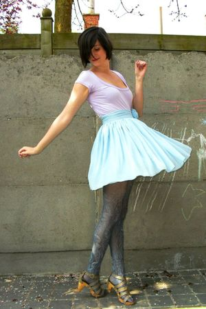 blue skirt - beige shoes - blue tights - purple top