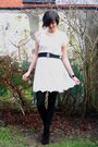 White-dress-gray-cardigan-black-boots-black-tights-black-bracelet-blac