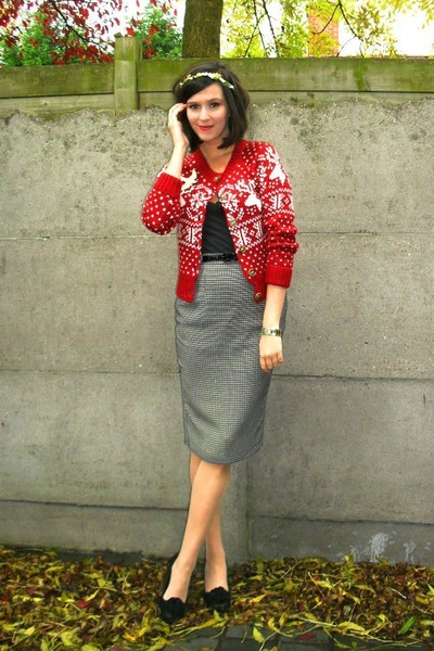 ruby red cardigan - charcoal gray skirt - cream accessories - black shoes - blac