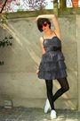 Blue-dress-black-blazer-red-glasses-white-shoes-purple-belt