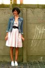 Pink-dress-blue-jacket-white-shoes-purple-belt