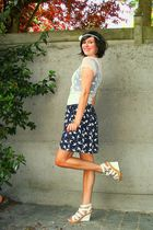 white blazer - blue dress - white shoes - white accessories