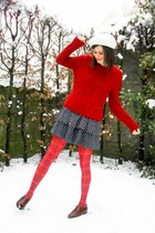 ruby red sweater - red tights - navy dress - dark brown shoes - ivory hat