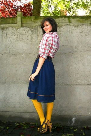 red shirt - blue skirt - yellow tights - brown shoes - brown belt