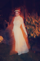 white dress - cream bag