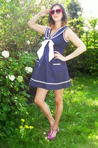 navy dress - amethyst flats - red glasses