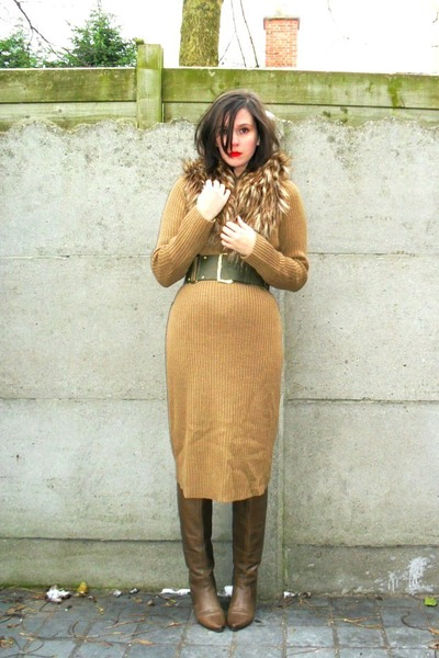 camel dress - light brown boots - brown scarf - army green belt