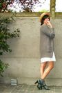 White-dress-gray-socks-black-shoes-yellow-hat-gray-cardigan