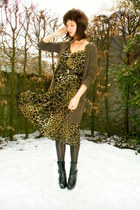 dark brown cardigan - black boots - army green dress - black tights