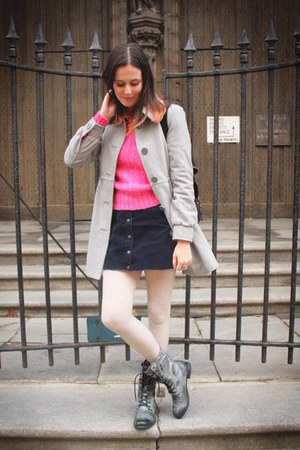 bubble gum sweater - gray boots - silver coat - navy skirt