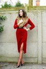 Ruby-red-dress-maroon-tights-black-shoes-black-belt-tan-scarf-silver-a