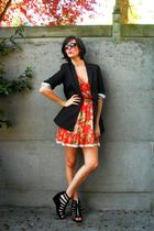 orange dress - black blazer - black shoes