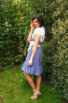 white shirt - blue dress - beige shoes - white belt