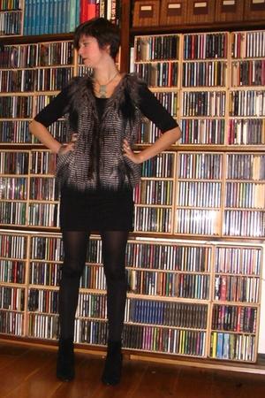black dress - black tights - black boots - gray vest - silver accessories