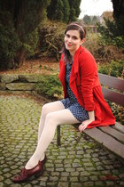 red coat - dark brown shoes - navy dress - cream tights