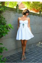 white dress - blue necklace - beige shoes
