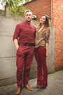 Crimson-pants-camel-blouse-dark-brown-clogs
