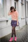 Peach-top-bubble-gum-boots-purple-skirt