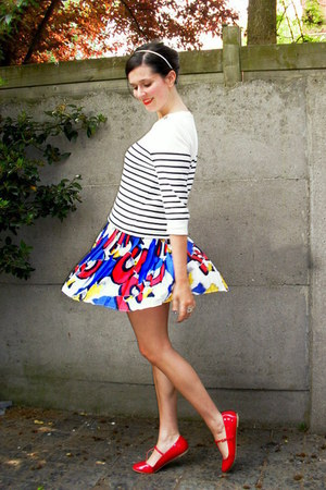 white sweater - navy skirt - red flats - yellow accessories