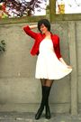 White-dress-red-jacket-black-boots-black-socks-black-tights