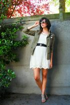 green jacket - white dress - gray shoes - brown glasses