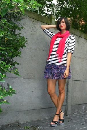 black shoes - pink scarf - white top - purple skirt