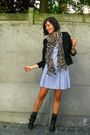 black blazer - black boots - blue dress - brown scarf - gray socks