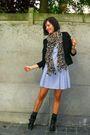 black blazer - black boots - blue dress - brown scarf - gray socks