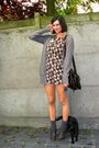 Brown-dress-brown-shoes-black-bag-gray-socks-gray-cardigan-white-acces