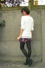 White-sweater-pink-skirt-black-tights-gray-boots-silver-accessories
