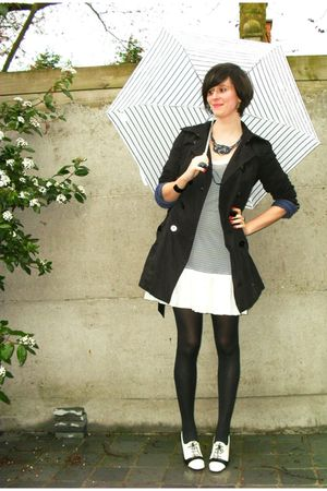 blue dress - white shoes - black coat - blue necklace - blue cardigan