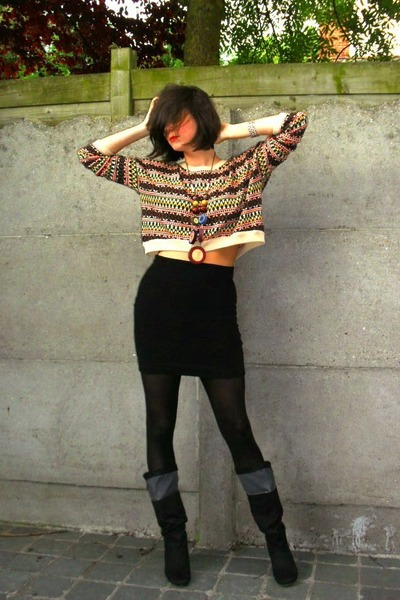 black boots - beige sweater - black tights - black skirt - brown necklace