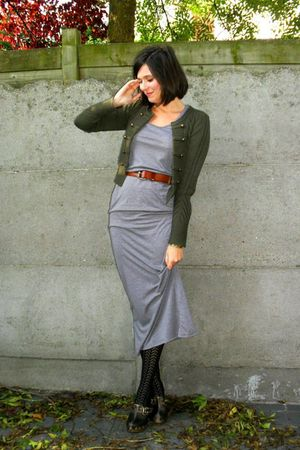 black tights - gray dress - green cardigan - brown - brown belt