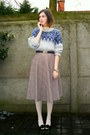 Periwinkle-sweater-off-white-tights-black-belt-tan-skirt-black-heels-g
