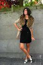 Black-dress-beige-coat-white-shoes-brown-scarf