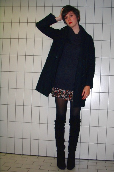 black H&amp;M coat - gray H&amp;M sweater - red Pimkie dress - black tights - black Sach